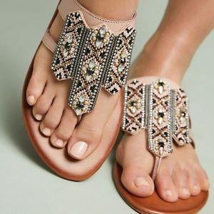 Anthropologie Embellished Thong Sandals